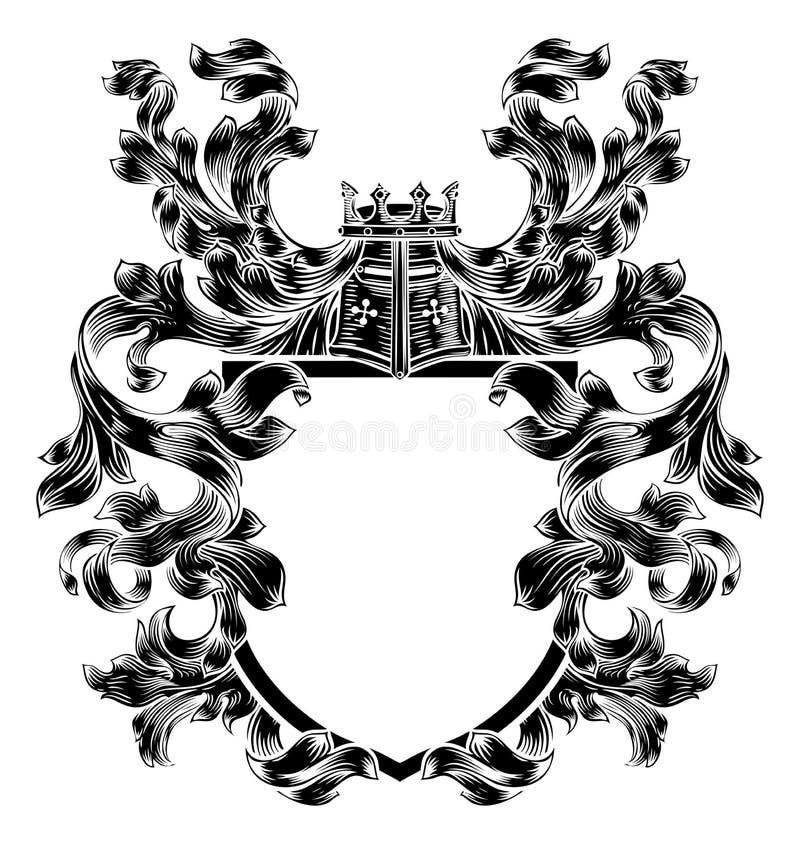 Schildridder Heraldic Crest Coat van Wapensembleem vector illustratie