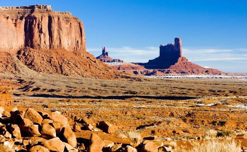 Schildwacht Mesa, het Nationale Park van de Monumentenvallei, Utah-Arizona, de V.S. stock afbeeldingen