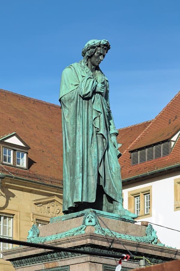 Schillermonument in Schillerplatz in Stuttgart, Duitsland stock afbeelding