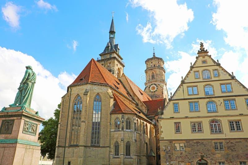 Schillerplatz vierkant Stuttgart, Duitsland royalty-vrije stock afbeeldingen