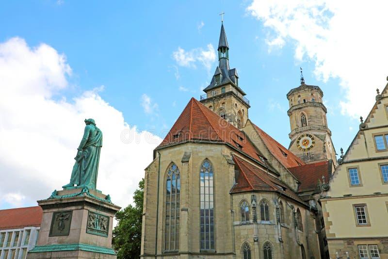 Schillerplatz vierkant Stuttgart, Duitsland stock foto