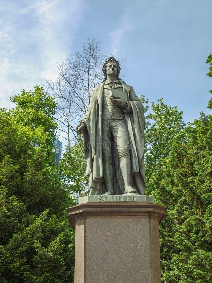 Schillerstandbeeld in Frankfurt royalty-vrije stock afbeelding