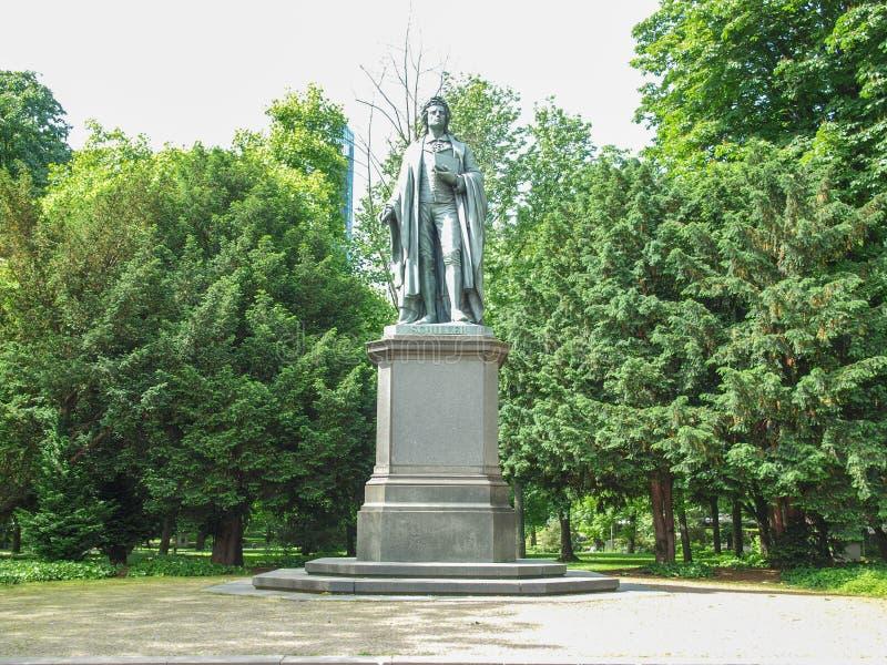 Schillerstandbeeld in Frankfurt royalty-vrije stock afbeeldingen