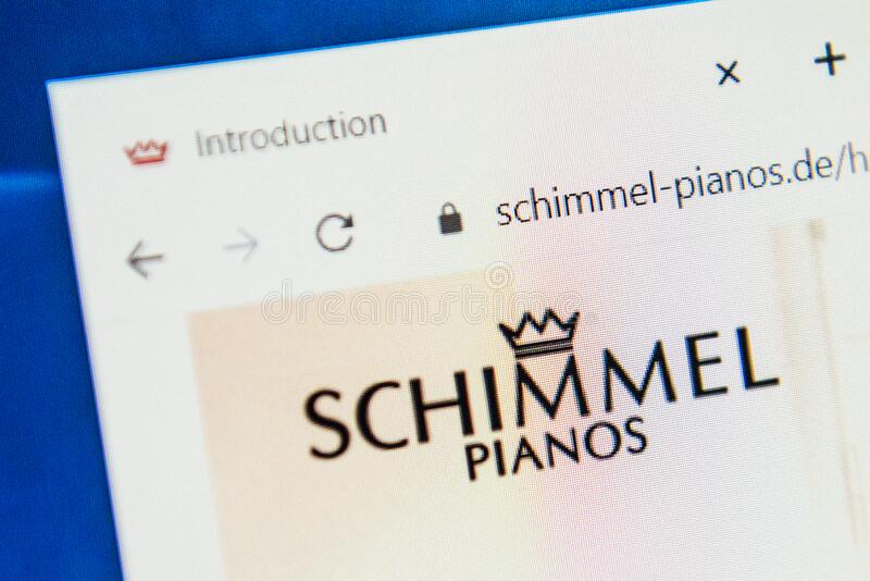 Schimmel pianos Web Site. Selective focus. Macro image of schimmel pianos homepage loaded on screen in web browser stock images