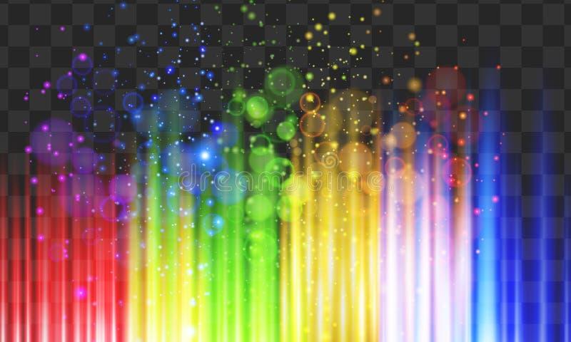 Schimmer beleuchtet in den Regenbogenfarben auf schwarzem Hintergrund stock abbildung