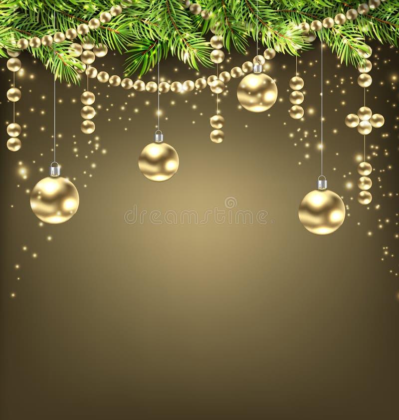 Schimmernder Hintergrund mit Tannenzweigen und goldenen Weihnachtsbällen lizenzfreie abbildung