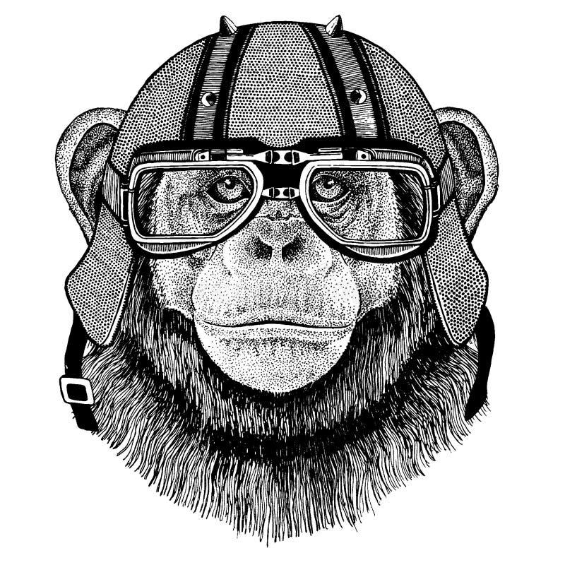Schimpans apa som bär en motorcykel, aero hjälm Utdragen bild för hand för tatueringen, t-skjorta, emblem, emblem, logo, lapp vektor illustrationer