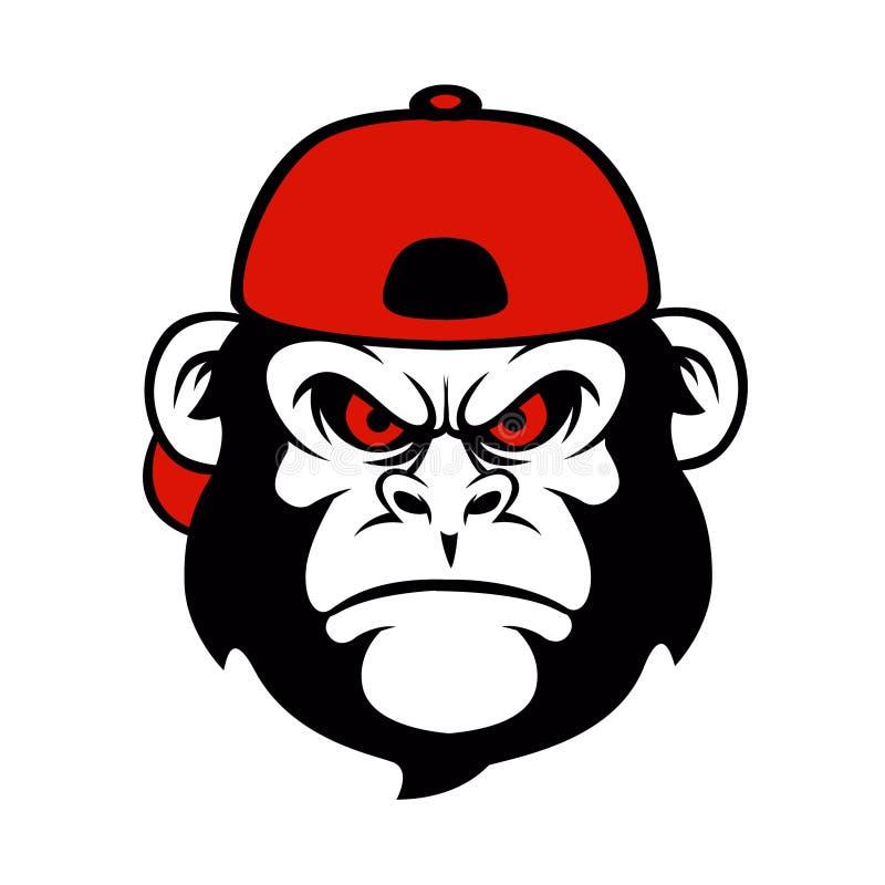 Schimpanse in einer Kappe lizenzfreie abbildung
