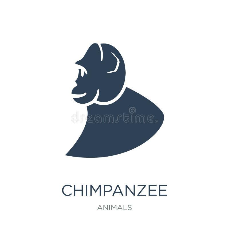 schimpanssymbol i moderiktig designstil schimpanssymbol som isoleras på vit bakgrund modern schimpansvektorsymbol som är enkel oc royaltyfri illustrationer