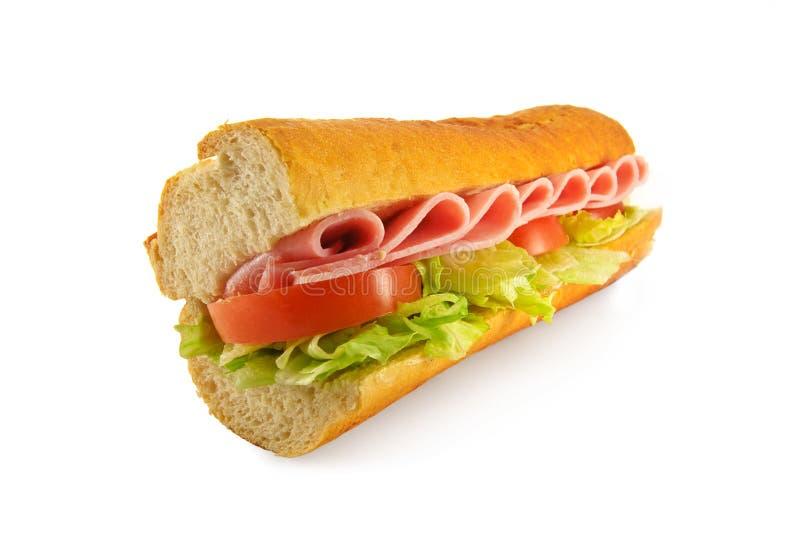 Schinken-Salat-Sandwichstangenbrot stockbilder