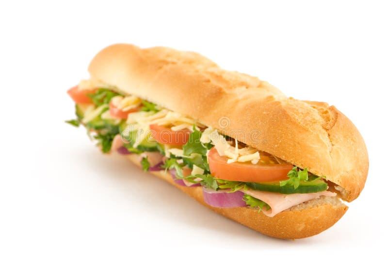 Schinken-u. Käse-Salat-Stangenbrot lizenzfreie stockfotos