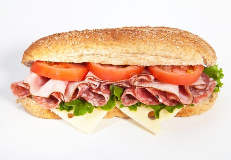 Schinken und Salami sandwiche lizenzfreie stockbilder