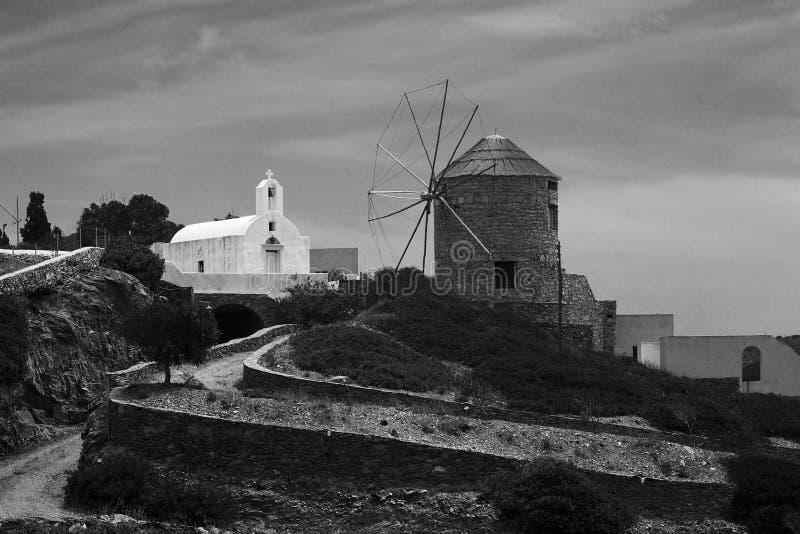 Schinoussa island windmill stock photos