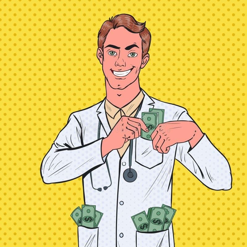 Schiocchi i fondi Art Male Corrupt Doctor Put nella tasca Concetto di corruzione illustrazione vettoriale