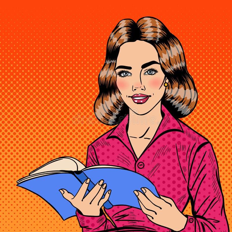 Schiocco abbastanza sorridente Art Young Woman Reading Book illustrazione vettoriale