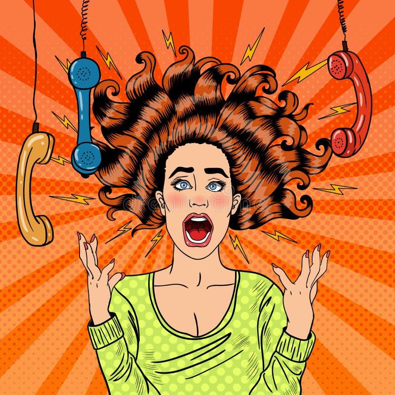 Schiocco Art Aggressive Furious Screaming Woman illustrazione vettoriale