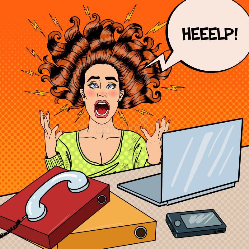 Schiocco Art Aggressive Screaming Woman con il computer portatile illustrazione vettoriale