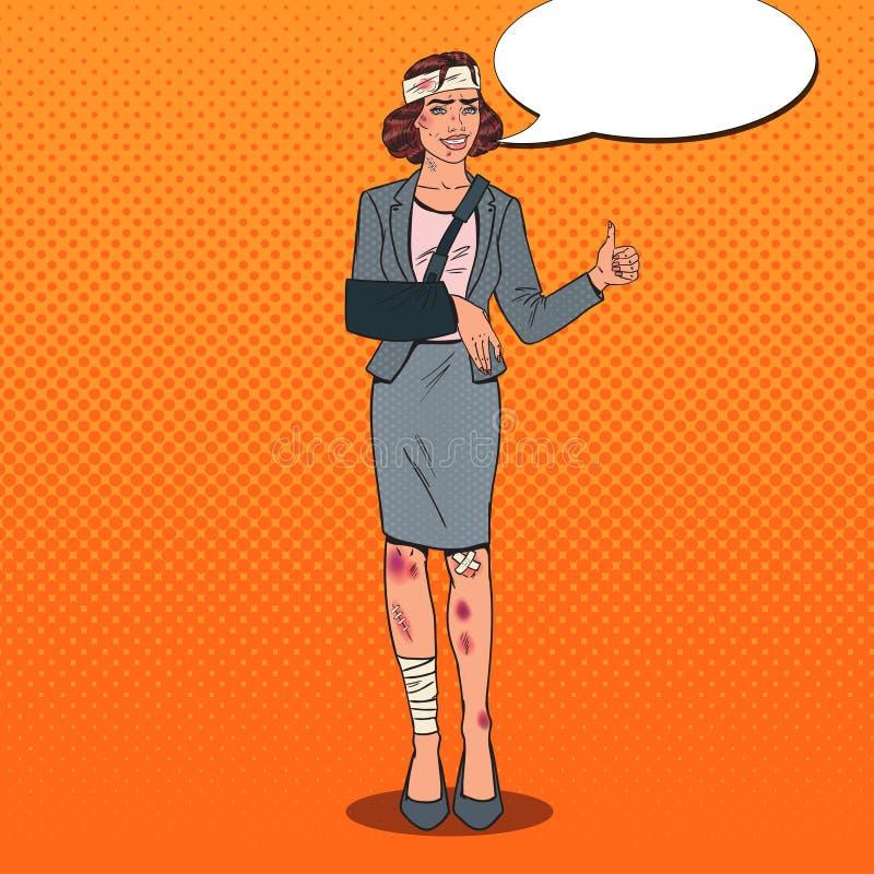 Schiocco Art Beaten Business Woman Smiling Ufficio bendato royalty illustrazione gratis