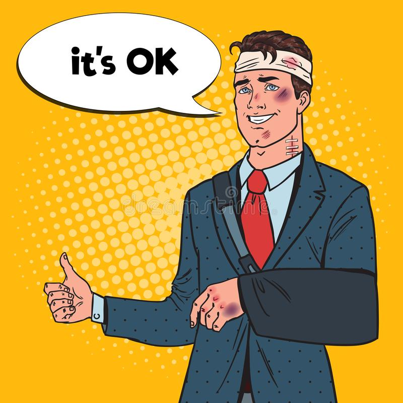 Schiocco Art Beaten Businessman con sorridere bendato del braccio Uomo illustrazione vettoriale