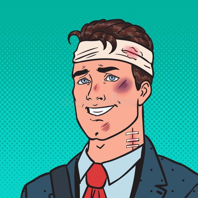 Schiocco Art Beaten Positive Businessman L'uomo ha battuto ferito illustrazione vettoriale