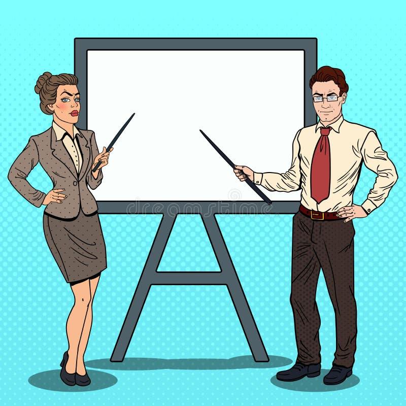 Schiocco Art Businessman e donna di affari con il bastone del puntatore e bordo bianco illustrazione vettoriale