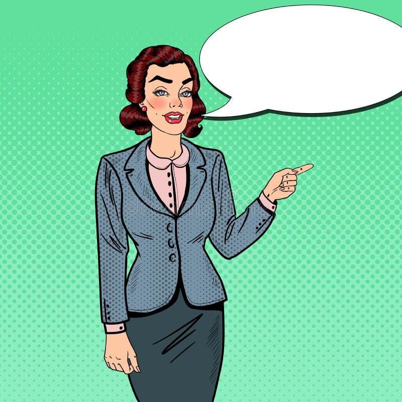 Schiocco Art Businesswoman Pointing sullo spazio della copia Presentazione di affari royalty illustrazione gratis