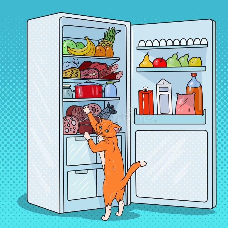 Schiocco Art Cat Steals Food dal frigorifero Animale domestico affamato in frigorifero illustrazione vettoriale
