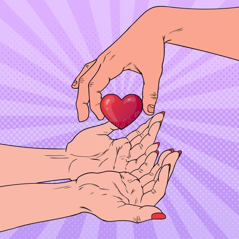 Schiocco Art Charity Organ Donation Concept Mano che dà cuore Sanità, medicina illustrazione vettoriale