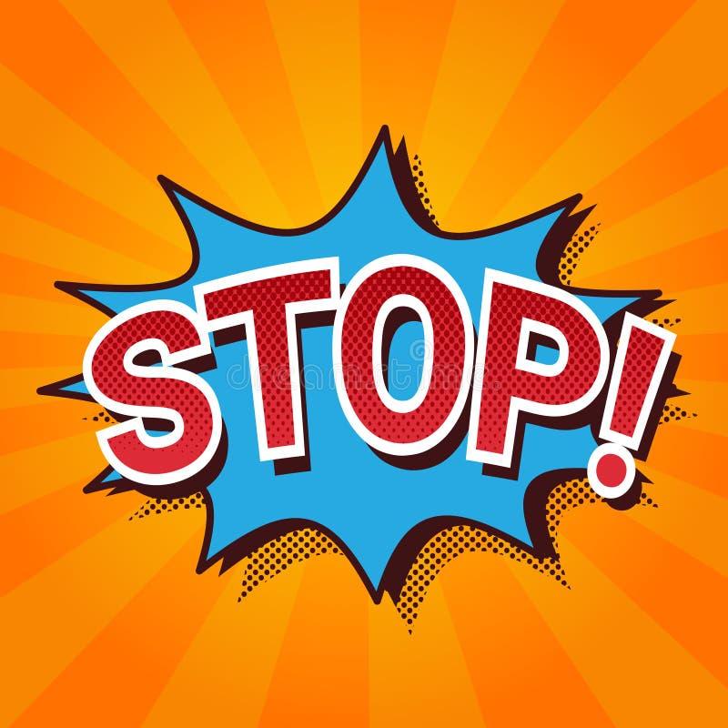 Schiocco Art Comic Icon Stop Lettering nella bolla di chiacchierata che esplode illustrazione di stock