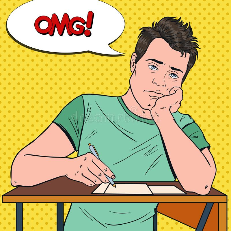 Schiocco Art Exhausted Male Student Sitting sullo scrittorio durante la conferenza noiosa dell'università Uomo bello stanco in is illustrazione di stock