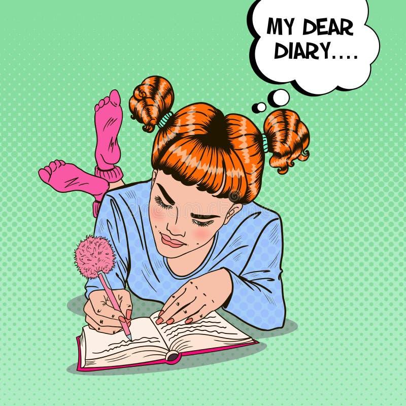 Schiocco Art Girl in calzini rosa che scrive in diario illustrazione vettoriale