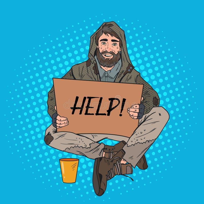 Schiocco Art Homeless Man Il mendicante maschio con il cartone del segno chiede aiuto Concetto di povertà illustrazione vettoriale