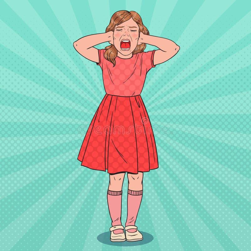 Schiocco Art Little Girl Screaming Bambino aggressivo Espressione facciale emozionale del bambino illustrazione vettoriale