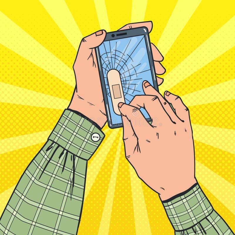 Schiocco Art Male Hands Holding Broken Smartphone illustrazione di stock
