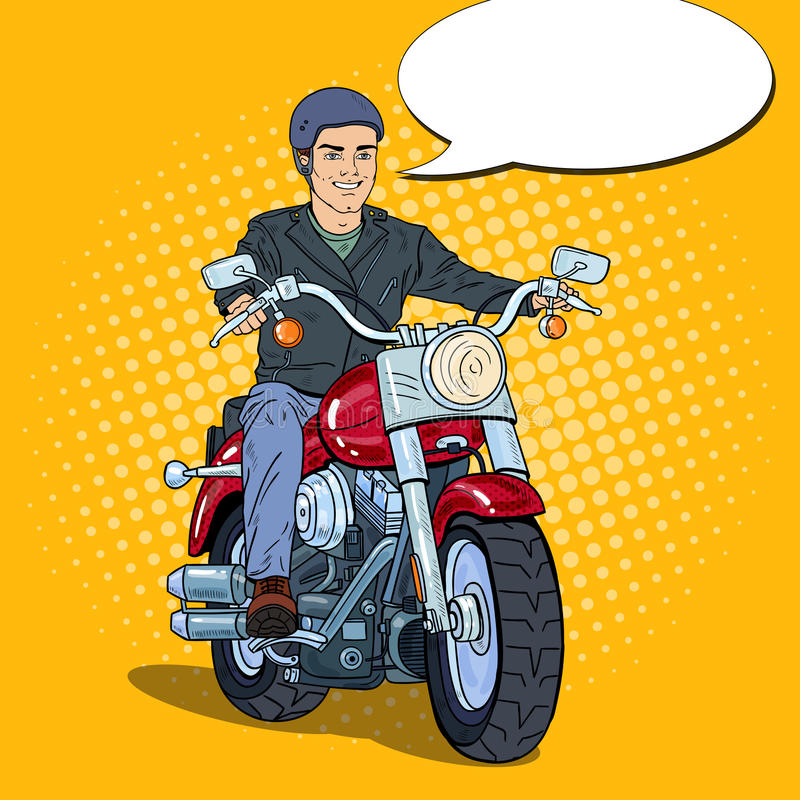 Schiocco Art Man Biker Riding un selettore rotante royalty illustrazione gratis
