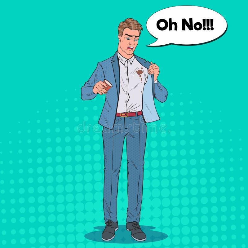 Schiocco Art Nervous Businessman Spilling Coffee sulla camicia Uomo con le macchie sui suoi vestiti royalty illustrazione gratis
