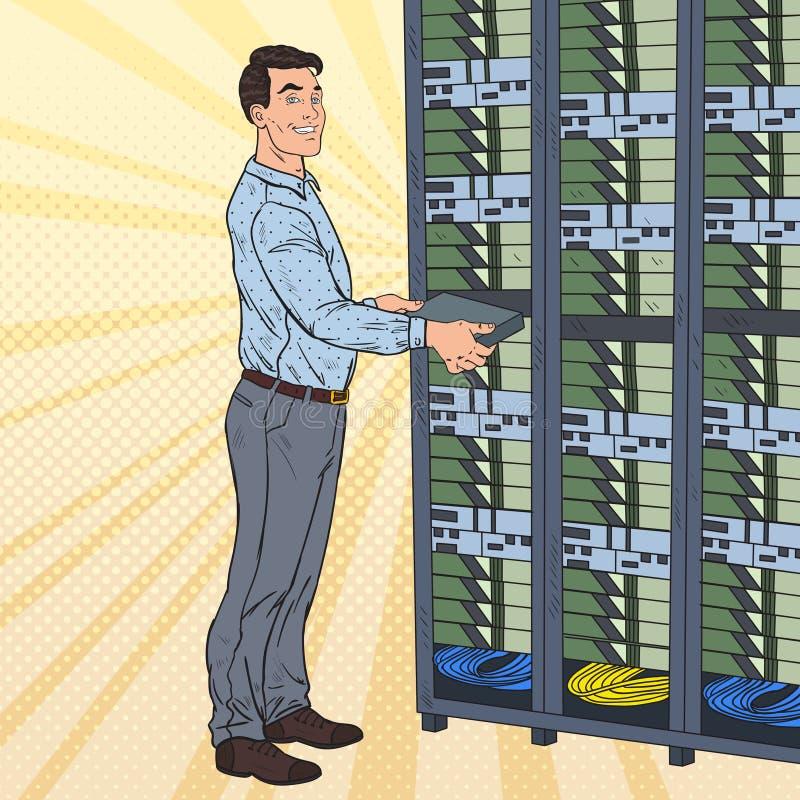 Schiocco Art Network Engineer Working con il centro dati dell'hardware royalty illustrazione gratis