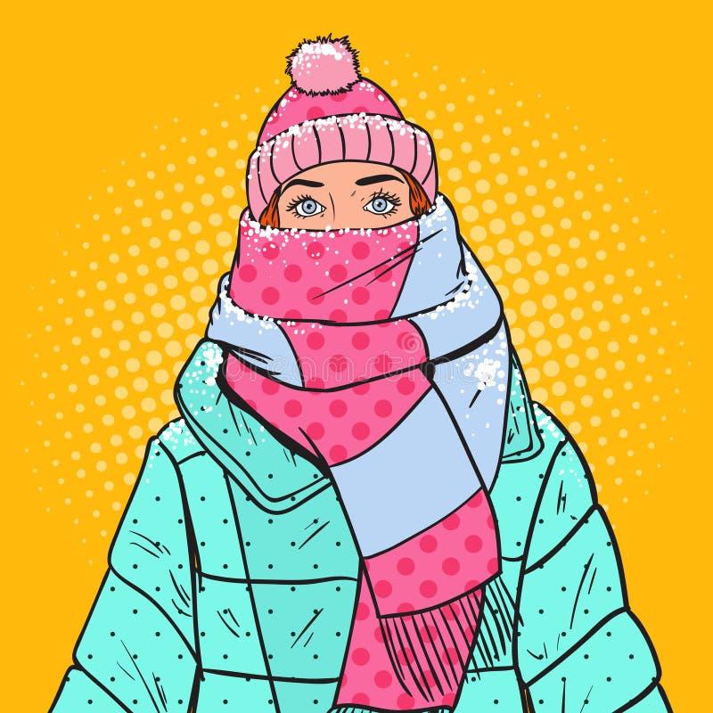 Schiocco Art Portrait di bella donna in vestiti caldi di inverno Ragazza emozionale illustrazione di stock