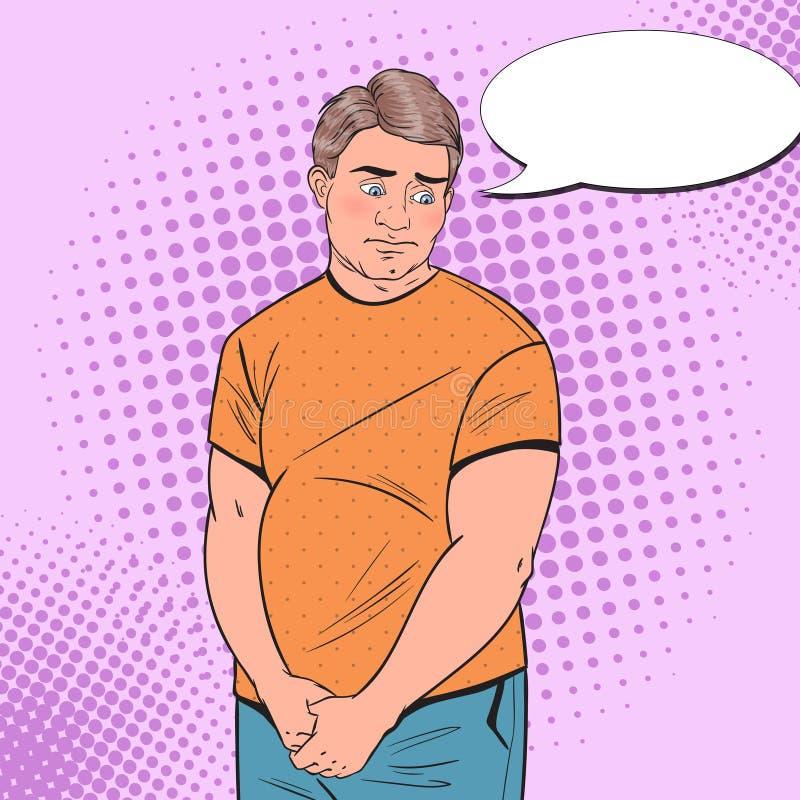 Schiocco Art Shy Fat Man Giovane tipo imbarazzato di peso eccessivo Cibo non sano illustrazione vettoriale