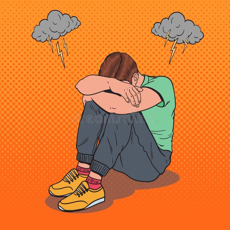 Schiocco Art Stressed Young Man Sitting sul pavimento illustrazione vettoriale
