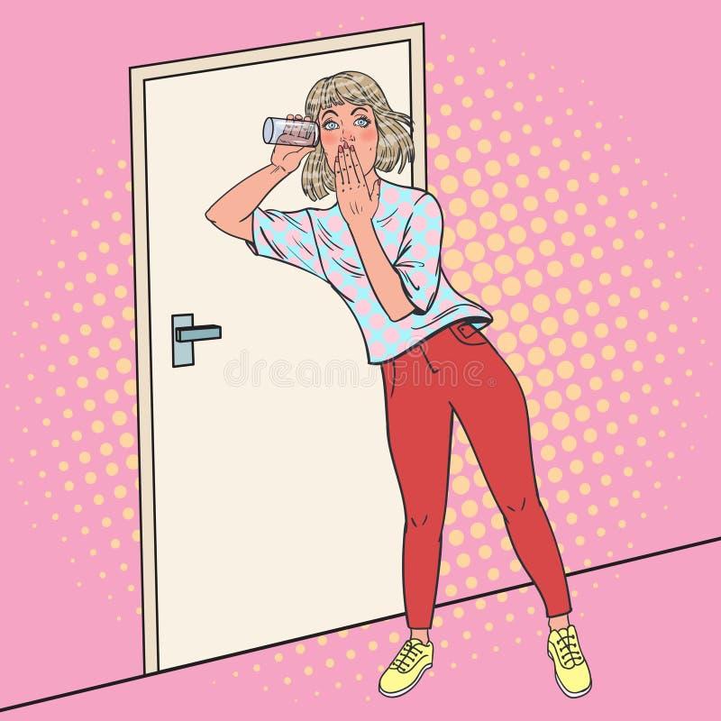 Schiocco Art Surprised Woman Overhears Conversation con vetro La ragazza ascolta di nascosto illustrazione vettoriale