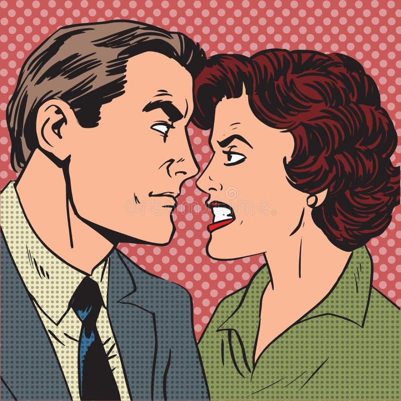 Schiocco di amore odio di litigio della famiglia della donna dell'uomo di conflitto illustrazione di stock