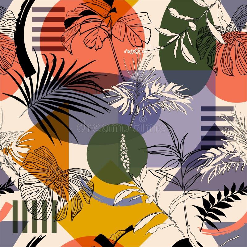 Schiocco variopinto geometrico con le piante botaniche ed il modello senza cuciture di stile moderno dell'albero nel vettore, pro illustrazione vettoriale