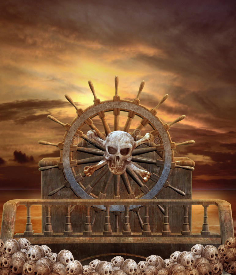 Schip 3 van de piraat royalty-vrije illustratie