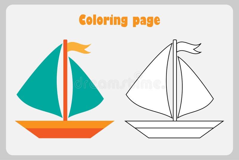 Schip in beeldverhaalstijl, kleurende pagina, onderwijsdocument spel voor de ontwikkeling van kinderen, voor het drukken geschikt stock illustratie
