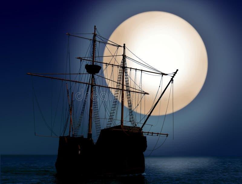 Schip bij nacht stock illustratie