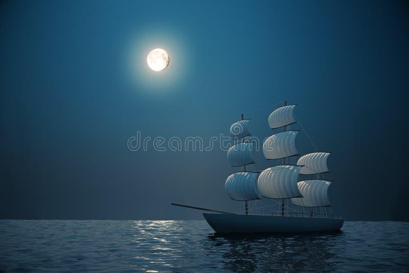 Schip bij nacht royalty-vrije illustratie