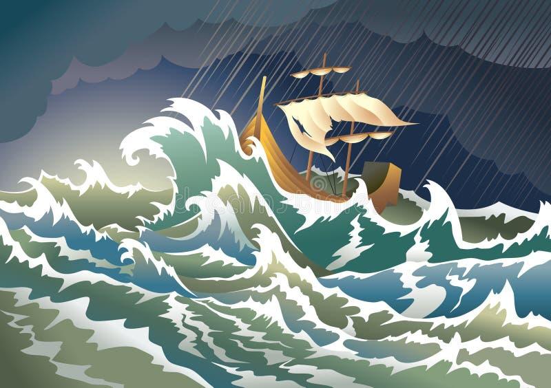 Schip dat in het onweer daalt stock illustratie