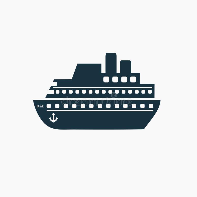 Schip, de vector van het cruisepictogram Verschepend symbool stock illustratie