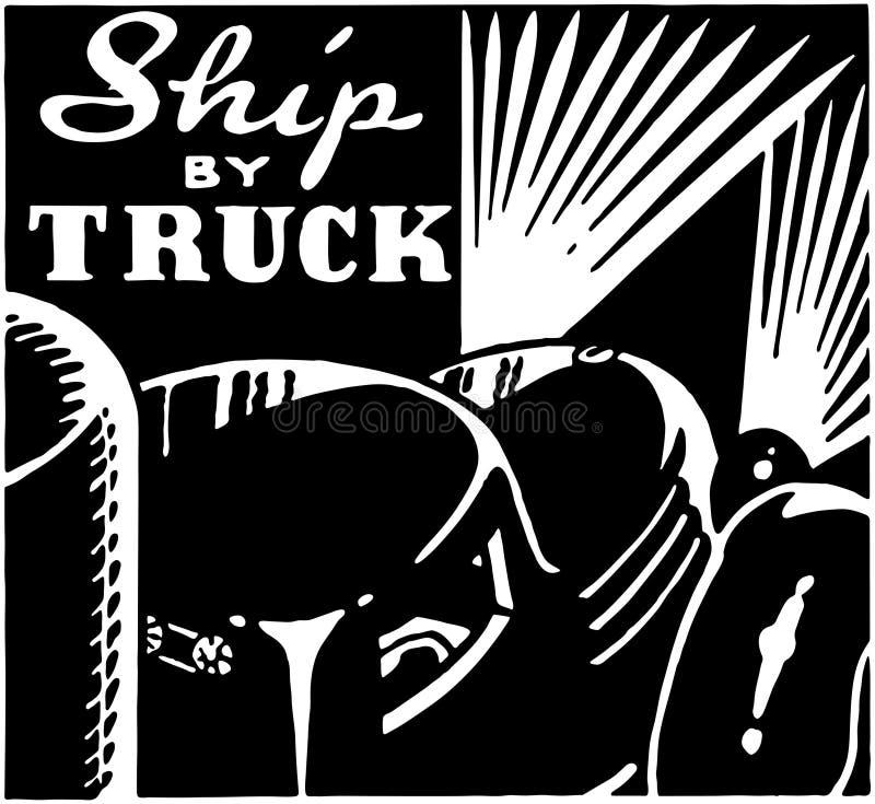 Schip door Vrachtwagen vector illustratie